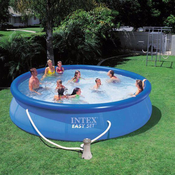 Intex swimming pool easy set uk pools cover above ground for Alberca intex